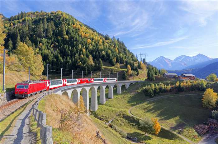 A Glacier Express train traveling across Bugnei Viaduct between Sedrun and Disentis, Switzerland