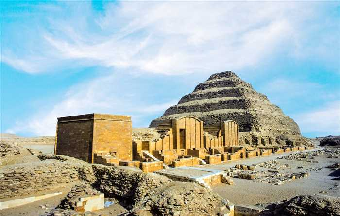 Pyramid of Djoser or Stepped pyramid, in the Saqqara necropolis, Egypt. It is a UNESCO World Heritage